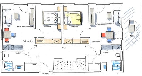 Grundris unserer modernen Apartments Spaichingen